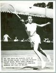 Black and white press photograph of tennis player Gertrude Moran during Wimbledon, c.1950.