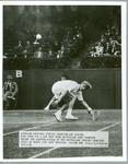 Black and white press photograph of American tennis player Art Larsen during the quarter finals of the Australian Singles Championships, 1950.