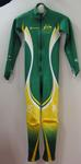 Australian winter Paralympic team uniform speed suit worn by Eric Bickerton, guide for Slalom skier Jessica Gallagher at the 2010 Paralympic Games, Vancouver.