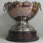 Trophy awarded to Carlton footballer Justin Madden at the Grand Final Breakfast as the 'Football Personality of the Year', 1997