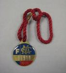 Melbourne Cricket Club membership medallion, 1970/71, with red lanyard