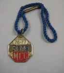Melbourne Cricket Club Medallion, 1976/77, with blue lanyard