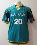 Short sleeved top associated with Shane Cansdell-Sherriff, Australian football team uniform, 2001 East Asian Games, Osaka