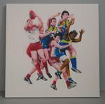 Painting, 'Swans v Eagles', 2007. Spray paint on board.