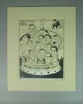 Cartoon of English cricket team 1953, by Wells
