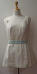 Tinling dress with blue ribbon and white lace detail worn by Judy Dalton
