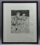 """Etching, """"Unduly Rough Play"""" by Lewis Miller"""