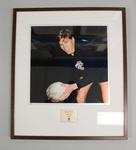 Framed reproduction photograph of Bryan Quirk, Carlton F.C. from Scanlens 1966 Flag Series football cards