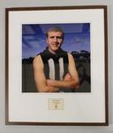 Framed reproduction photograph of Terry Waters, Collingwood  F.C. from Scanlens 1966 Flag Series football cards