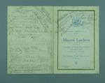Autographed menu for luncheon given in South Africa, 18 June 1920