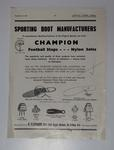 Advertisement for Champion Sporting Goods published in 'Australian Leather Journal, Boot and Shoe Recorder', November 19, 1964