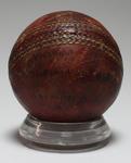 Ball used by Ian Johnson in Victoria vs Tasmania match, 1936