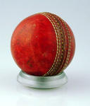 Red leather cricket ball inscribed with initials & date - cricketer killed by lightening