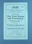 Programme of Dirt Track Racing and Footrunning Exhibition, 1931