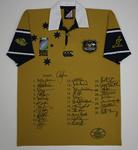 Unworn 2003 Australian rugby union jersey featuring team signatures.
