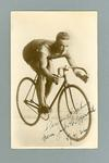 Black and white postcard of cyclist Jack Fitzgerald, inscribed  5 April 1924