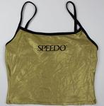Metallic gold World Tour beach volleyball uniform, worn by Kerri Pottharst circa 2001