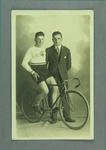 Postcard depicting two men with a Malvern Star bicycle, c1930s