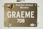Runner's bib worn by Graeme McTaggart, 2019 Australian Outback Marathon