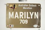 Runner's bib worn by Marilyn McTaggart, 2019 Australian Outback Marathon