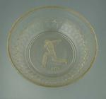 """Cut glass bowl with image of Don Bradman and the word """"Don"""" engraved beneath"""